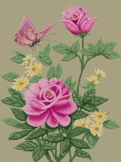 Бабочки и цветы схема вышивки