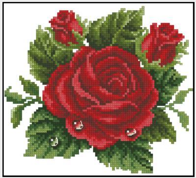 Схема вышивки красная роза