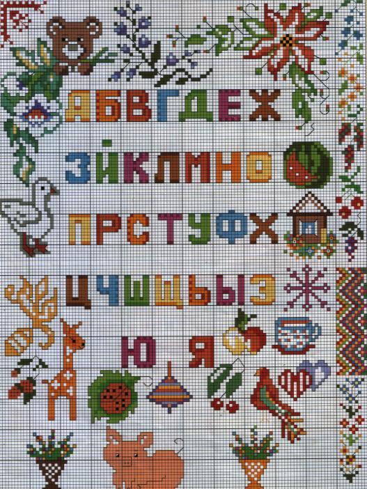 Вышивка крестом схема алфавит русский