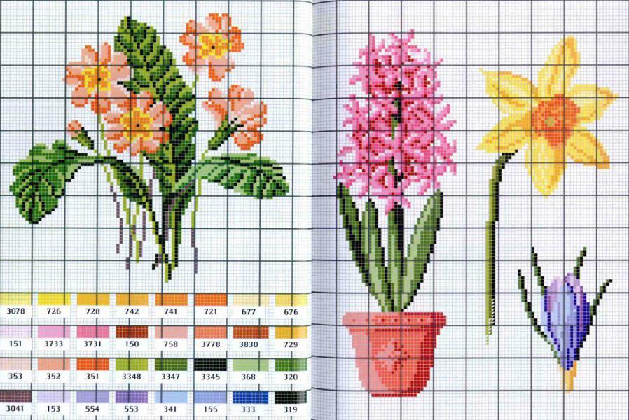 Схемы вышивки крестом цветы маленькие