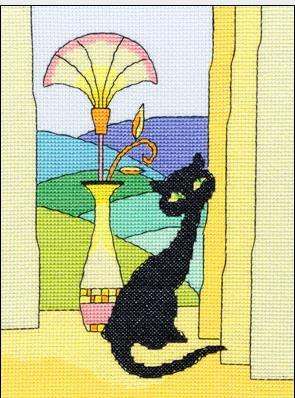 Описание яркая вышивка с кошечкой