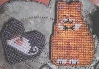 Кошка и мышка на пластиковой канве