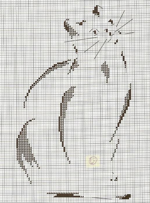 схемы кошек вышивки крестом