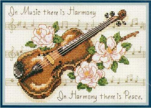 вышивка скрипка и роза
