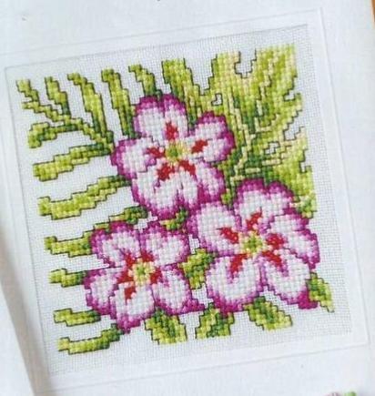 вышивка крестом ваза с цветами