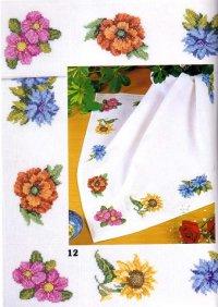 Цветы на салфетке