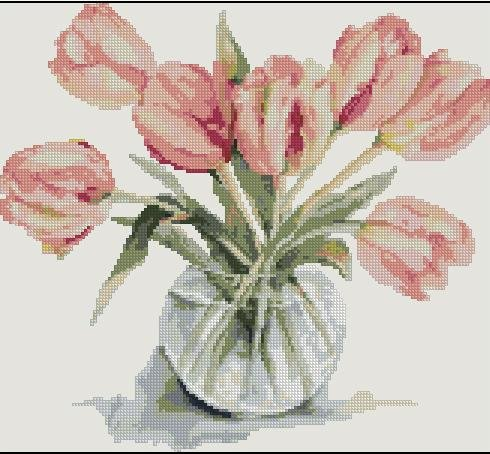 тюльпаны вышывка схемы