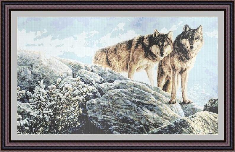 Пара волков вышивка крестом