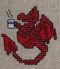 Красный дракончик с кружкой