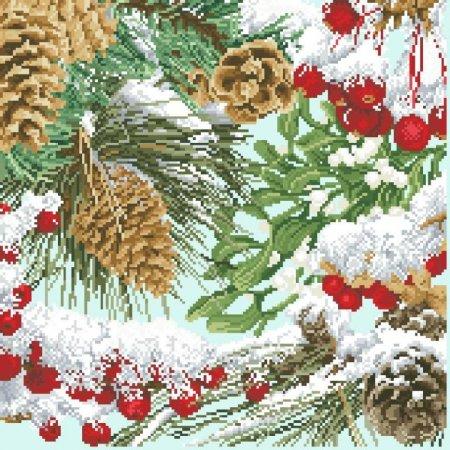 Шишки и рябина в снегу