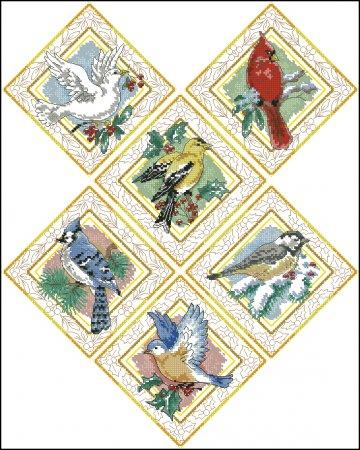 Новогодние орнаменты с птицами
