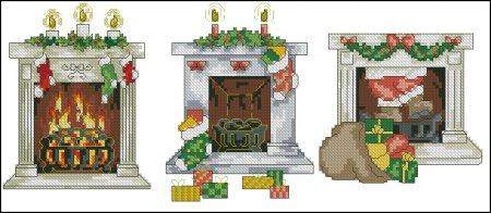 Открытки с рождественскими каминами