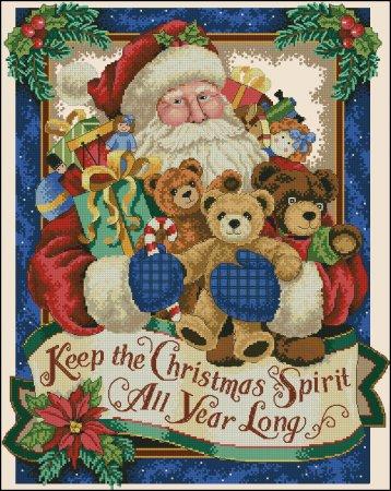 Санта с игрушечными мишками