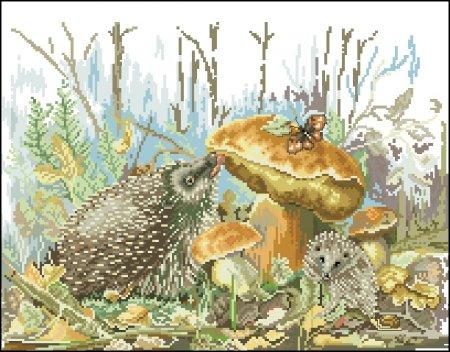 Ёжики у гриба