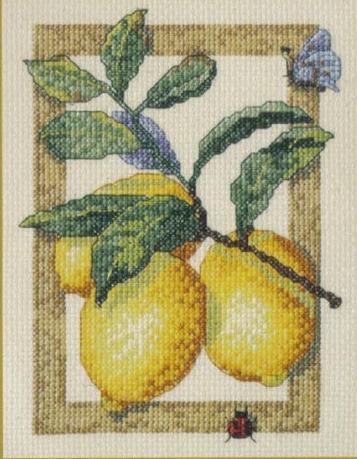 Ветка с лимонами схема вышивки
