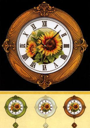 Часы Подсолнухи схема вышивки