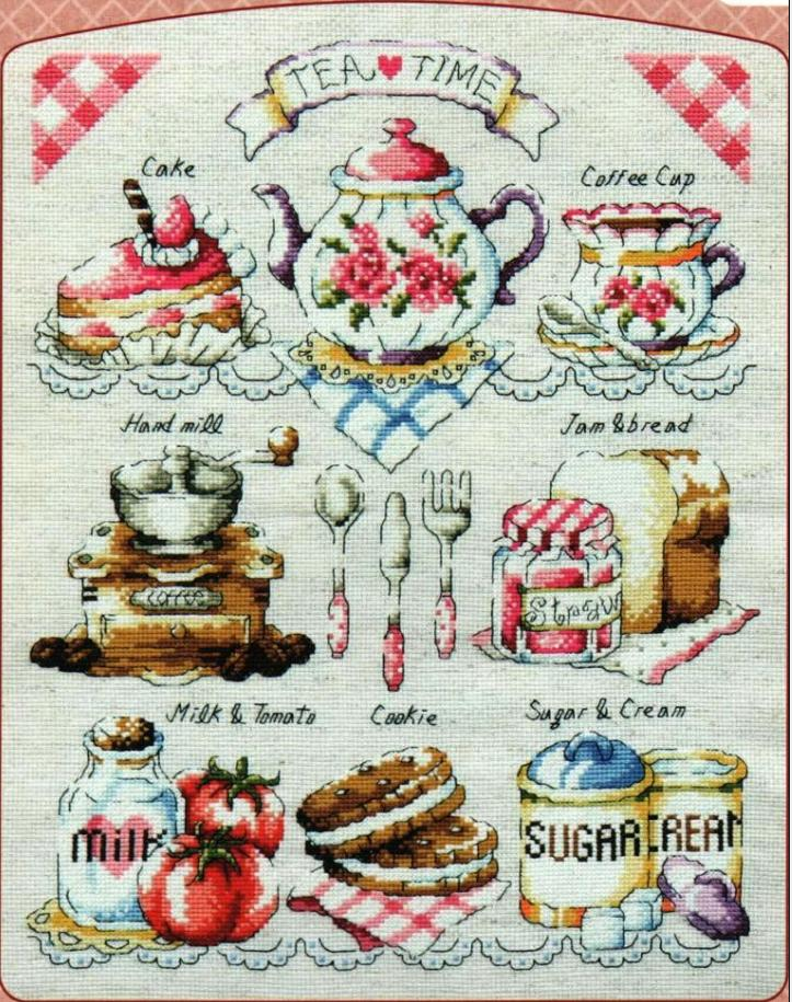 Время чая схема вышивки