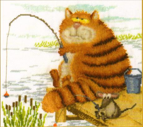 На рыбалке схема вышивки