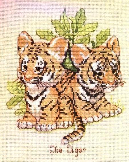 Тигрята схема вышивки крестом.