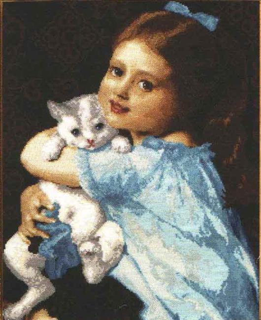 Вышивка девочка и кот 1