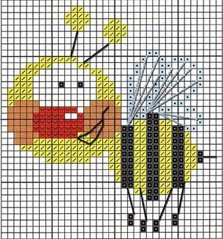Вышивка крестиком пчелка