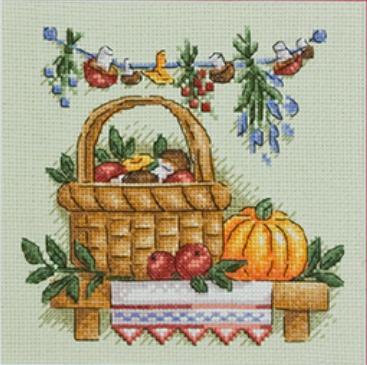 Грибы в лукошке схема вышивки