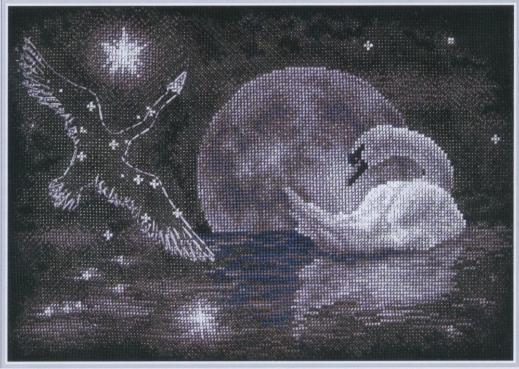 Лебедь схема вышивки крестом.