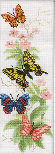 Цветы и бабочки схема вышивки