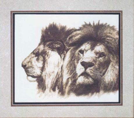 Два льва в сепии схема вышивки