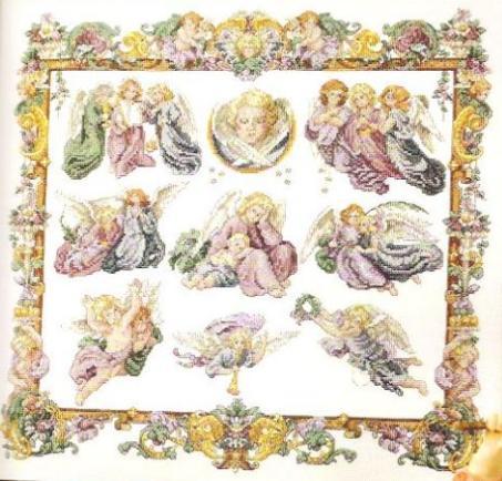 Сэмплеры.  Вышивка Сэмплер с ангелочками Категория.  Ангелы и Феи & Мифические персонажи.