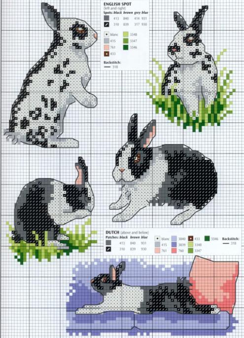 Кролики черно-белые схема