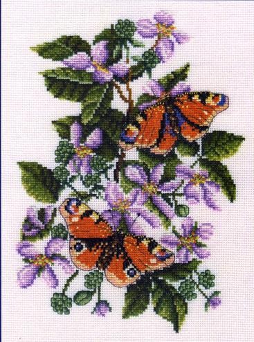 Бабочки на цветах схема