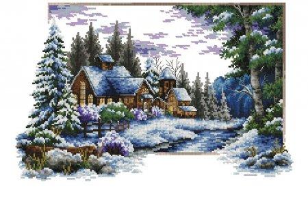 Зимняя деревня у реки